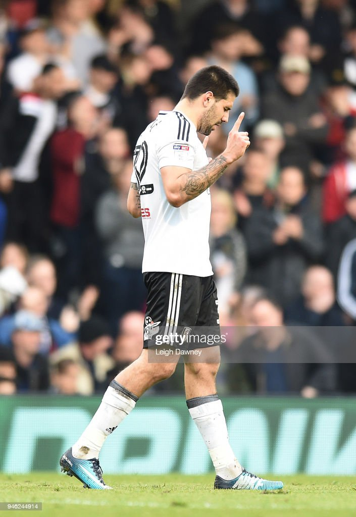 Aleksandar Mitrovic of Fulham scores first during the Sky Bet Championship match between Fulham and Brentford at Craven Cottage on April 14, 2018 in London, England.