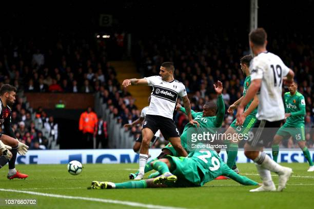 Aleksandar Mitrovic of Fulham scores his sides first goal during the Premier League match between Fulham FC and Watford FC at Craven Cottage on...