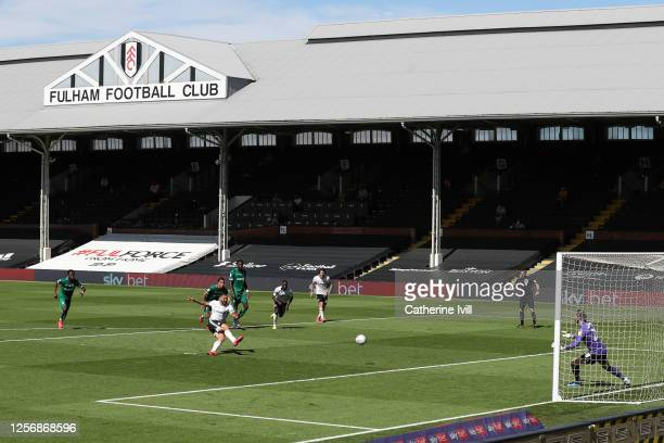 Aleksandar Mitrovic of Fulham scores his sides third goal from the penalty spot during the Sky Bet Championship match between Fulham and Sheffield...