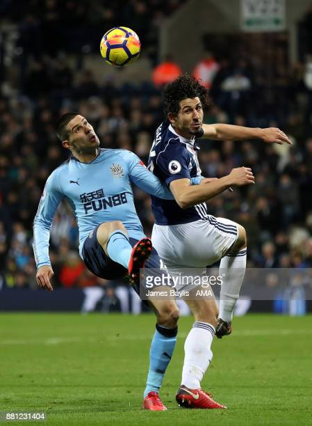 Aleksandar Mitrovic of Newcastle United and Ahmed Hegazy of West Bromwich Albion during the Premier League match between West Bromwich Albion and...