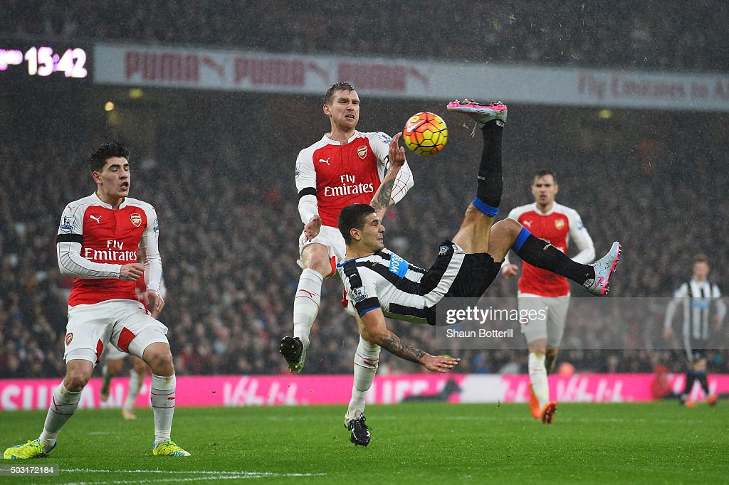 Aleksandar Mitrovic of Newcastle United attempts a bicycle kick during the Barclays Premier League match between Arsenal and Newcastle United at Emirates Stadium on January 2, 2016 in London, England.