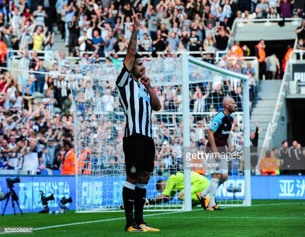 Aleksandar Mitrovic of Newcastle United celebrates after scoring Newcastle's third goal during the Premier League Match between Newcastle United and...