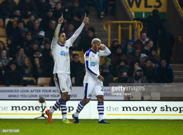 Aleksandar Mitrovic of Newcastle United celebrates after scoring the opening goal during the Sky Bet Championship match between Wolverhampton...
