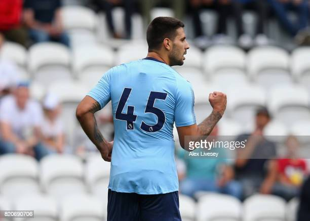Aleksandar Mitrovic of Newcastle United celebrates after scoring the opening goal during a preseason friendly match between Preston North End and...
