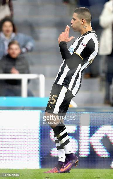 Aleksandar Mitrovic of Newcastle United celebrates scoring his sides first goal during the EFL Cup fourth round match between Newcastle United and...