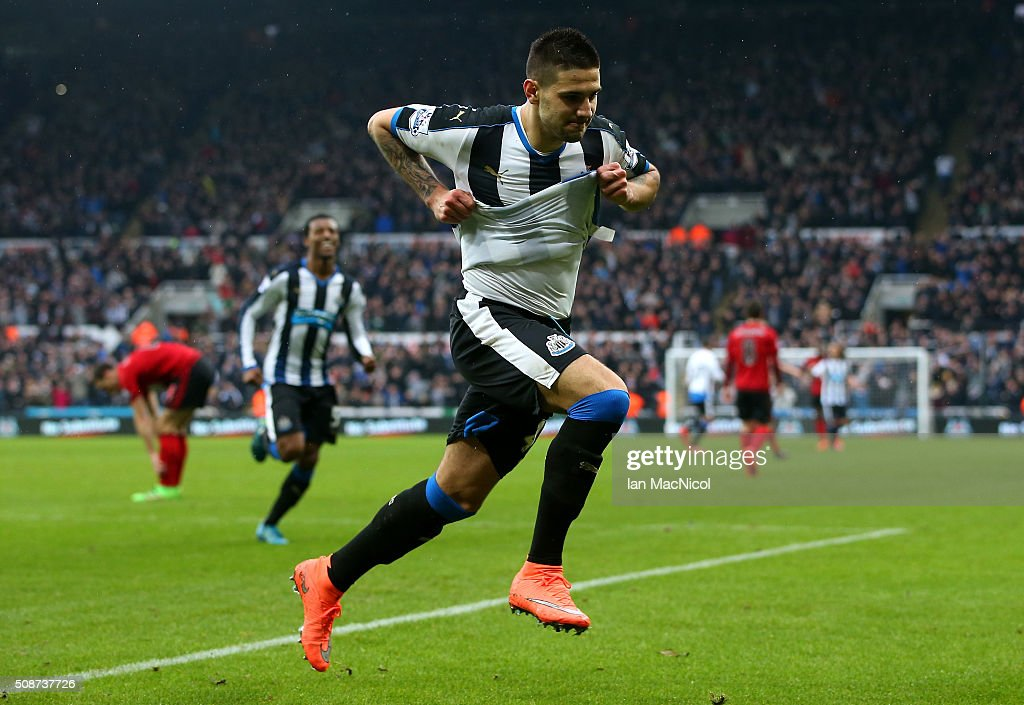 Aleksandar Mitrovic of Newcastle United celebrates scoring his team's first goal during the Barclays Premier League match between Newcastle United and West Bromwich Albion at St James' Park on February 6, 2016 in Newcastle upon Tyne, England.