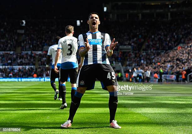 Aleksandar Mitrovic of Newcastle United celebrates scoring his team's second goal during the Barclays Premier League match between Newcastle United...