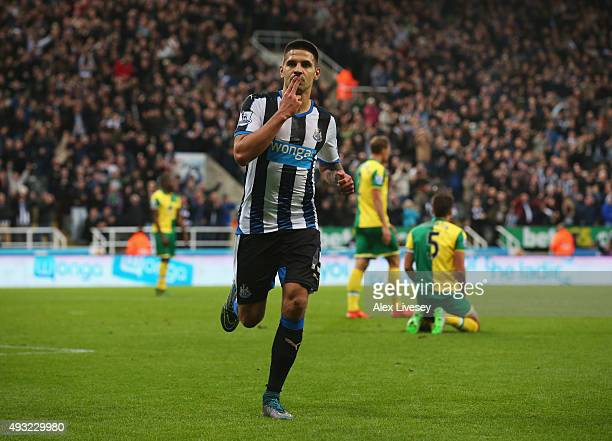 Aleksandar Mitrovic of Newcastle United celebrates scoring their fourth goal during the Barclays Premier League match between Newcastle United and...