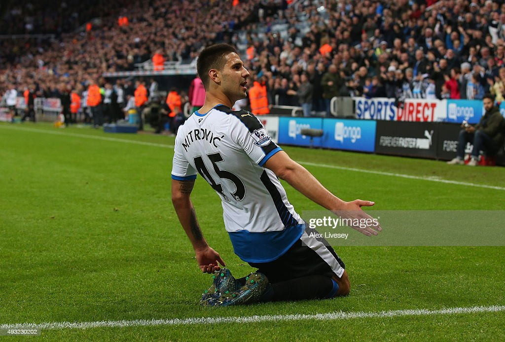 Aleksandar Mitrovic of Newcastle United celebrates scoring their fourth goal during the Barclays Premier League match between Newcastle United and Norwich City at St James' Park on October 18, 2015 in Newcastle upon Tyne, England.