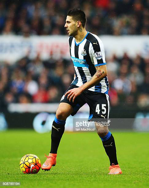 Aleksandar Mitrovic of Newcastle United controls the ball during the Barclays Premier League match between Newcastle United and West Bromwich Albion...