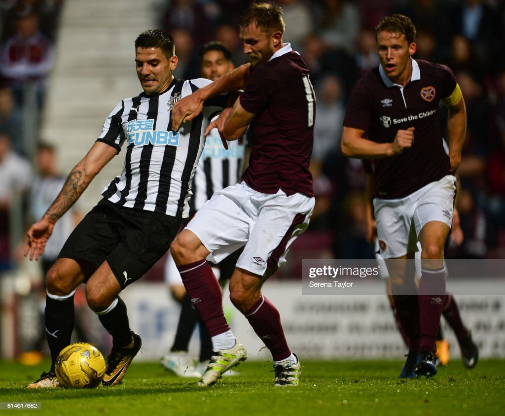 Aleksandar Mitrovic of Newcastle United (45) controls the ball during the Pre-Season Friendly between Heart of Midlothian and Newcastle United at the Tynecastle Stadium on July 14, 2017, in Edinburgh, Scotland.
