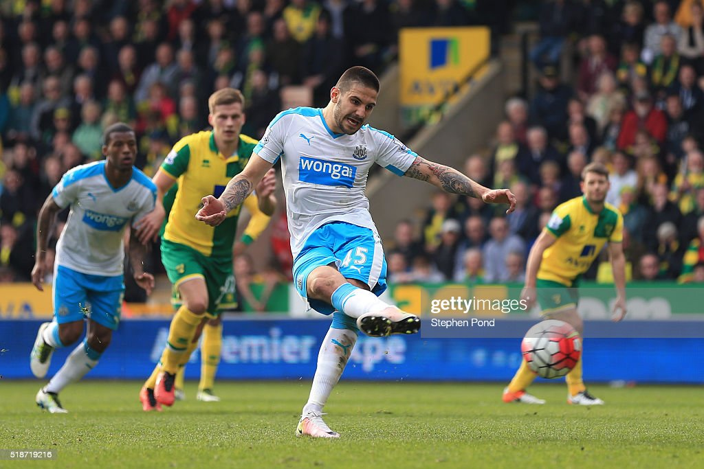 Aleksandar Mitrovic of Newcastle United converts the penalty to score his team's second goal during the Barclays Premier League match between Norwich City and Newcastle United at Carrow Road on April 2, 2016 in Norwich, England.