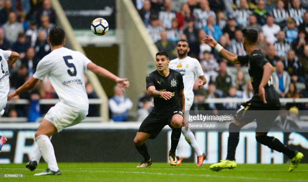 Aleksandar Mitrovic of Newcastle United (45) looks to head the ball during the Pre Season Friendly match between Newcastle United and Hellas Verona at St.James' Park on August 6, 2017, in Newcastle upon Tyne, England.