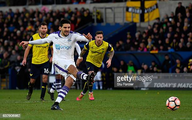 Aleksandar Mitrovic of Newcastle United misses a penalty during the Emirates FA Cup Fourth Round match between Oxford United and Newcastle United at...
