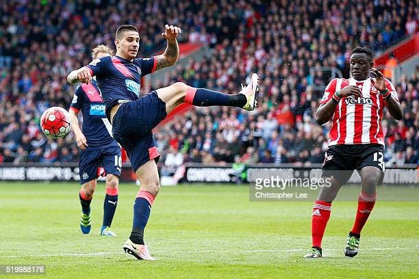 Aleksandar Mitrovic of Newcastle United misses the ball during the Barclays Premier League match between Southampton and Newcastle United at St...