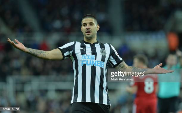 Aleksandar Mitrovic of Newcastle United reacts during the Premier League match between Newcastle United and Watford at St James Park on November 25...