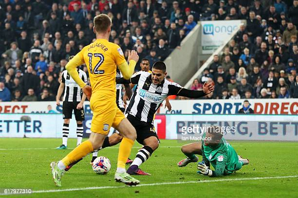 Aleksandar Mitrovic of Newcastle United scores his sides fourth goal during the EFL Cup fourth round match between Newcastle United and Preston North...