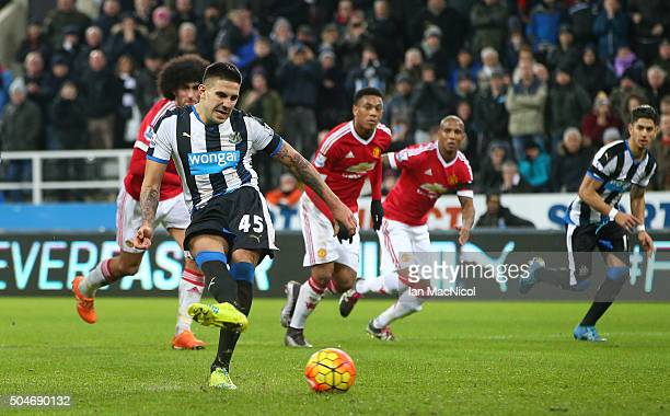 Aleksandar Mitrovic of Newcastle United scores their second and equalising goal from a penalty during the Barclays Premier League match between...