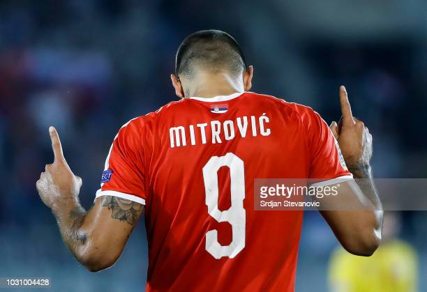Aleksandar Mitrovic of Serbia celebrates after scores the goal during the UEFA Nations League C group four match between Serbia and Romania at...