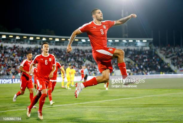 Aleksandar Mitrovic of Serbia celebrates after scoring a goal during the UEFA Nations League C group four match between Serbia and Romania at stadium...
