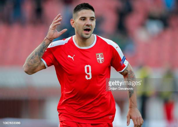 Aleksandar Mitrovic of Serbia celebrates after scoring a goal during the UEFA Nations League C group four match between Serbia and Montenegro at...