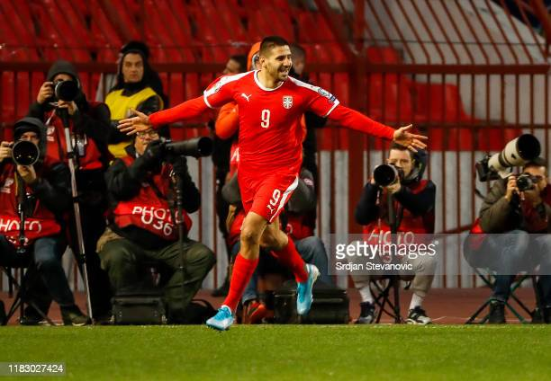 Aleksandar Mitrovic of Serbia celebrates after scoring a goal during the UEFA Euro 2020 Qualifier between Serbia and Ukraine on November 17, 2019 in...