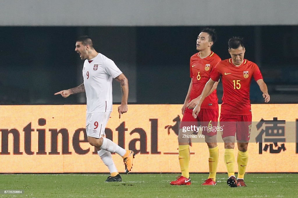 #9 Aleksandar Mitrovic of Serbia celebrates after scoring a goal during International Friendly Football Match between China and Serbia at Tianhe Stadium on November 10, 2017 in Guangzhou, China.