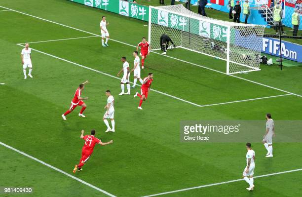 Aleksandar Mitrovic of Serbia celebrates after scoring his team's first goal during the 2018 FIFA World Cup Russia group E match between Serbia and...