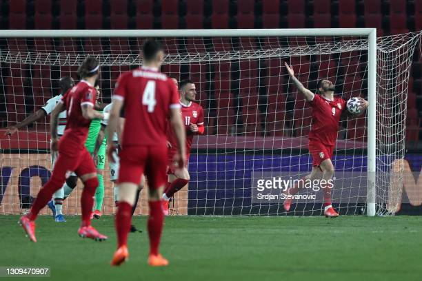 Aleksandar Mitrovic of Serbia celebrates after scoring their team's first goal during the FIFA World Cup 2022 Qatar qualifying match between Serbia...