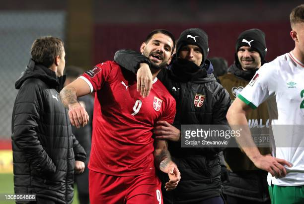 Aleksandar Mitrovic of Serbia celebrates following the FIFA World Cup 2022 Qatar qualifying match between Serbia and Republic of Ireland on March 24,...