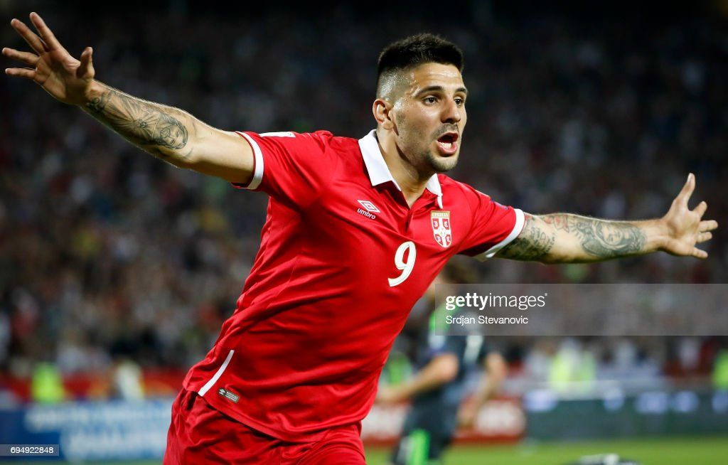 Aleksandar Mitrovic of Serbia celebrates scoring the goal during the FIFA 2018 World Cup Qualifier between Serbia and Wales at stadium Rajko Mitic on June 11, 2017 in Belgrade, Serbia.