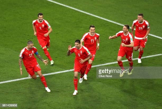 Aleksandar Mitrovic of Serbia celebrates with teammates after scoring his team's first goal during the 2018 FIFA World Cup Russia group E match...