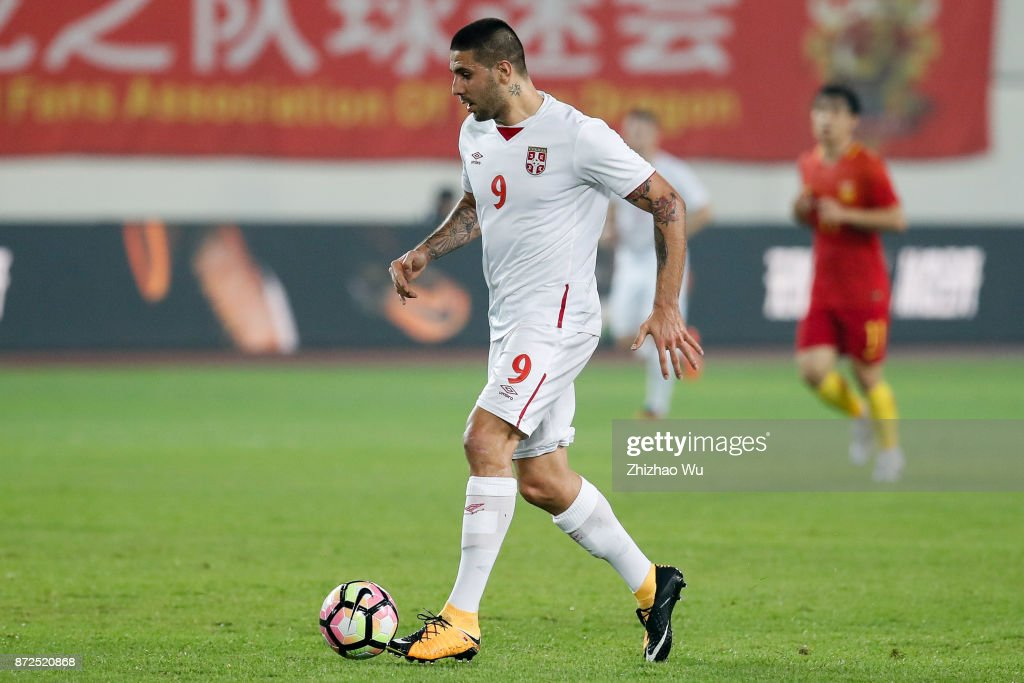 #9 Aleksandar Mitrovic of Serbia controls the ball during International Friendly Football Match between China and Serbia at Tianhe Stadium on November 10, 2017 in Guangzhou, China.