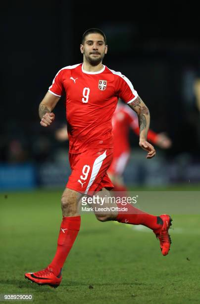 Aleksandar Mitrovic of Serbia during the International Friendly match between Nigeria and Serbia at The Hive on March 27 2018 in Barnet England