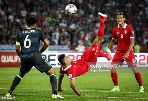 Aleksandar Mitrovic of Serbia in action against Ashley Williams of Wales during the FIFA 2018 World Cup Qualifier between Serbia and Wales at stadium...