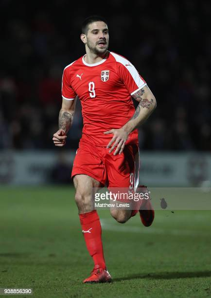 Aleksandar Mitrovic of Serbia in action during the International Friendly match between Nigeria and Serbia at The Hive on March 27 2018 in Barnet...