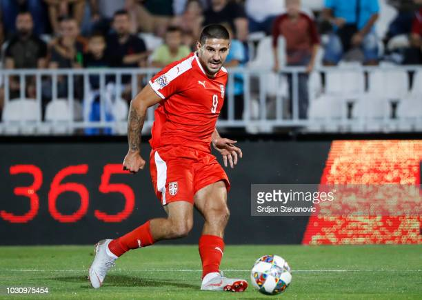 Aleksandar Mitrovic of Serbia in action on during the UEFA Nations League C group four match between Serbia and Romania at stadium Partizan on...