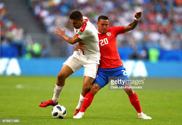 Aleksandar Mitrovic of Serbia is fouled by David Guzman of Costa Rica leading to a free kick during the 2018 FIFA World Cup Russia group E match...