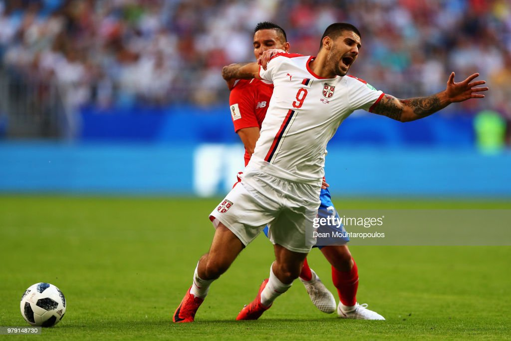 Aleksandar Mitrovic of Serbia is tackled by Marcos Urena of Costa Rica during the 2018 FIFA World Cup Russia group E match between Costa Rica and Serbia at Samara Arena on June 17, 2018 in Samara, Russia.