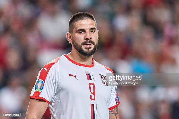 Aleksandar Mitrovic of Serbia looks on during the 2020 UEFA European Championships group B qualifying match between Portugal and Serbia at Estadio do...