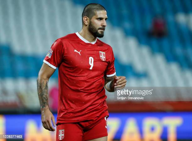 Aleksandar Mitrovic of Serbia looks on during the UEFA Nations League group stage match between Serbia and Turkey at Rajko Mitic Stadium on September...