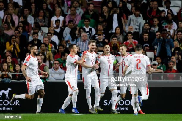 Aleksandar Mitrovic of Serbia, Nemanja Maksimovic of Serbia, Adem Ljajic of Serbia, Darko Lazovic of Serbia, Dusan Tadic of Serbia, celebrate the 0-1...