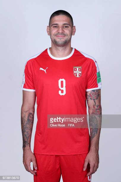 Aleksandar Mitrovic of Serbia poses for a portrait during the official FIFA World Cup 2018 portrait session at the Team Hotel on June 12 2018 in...