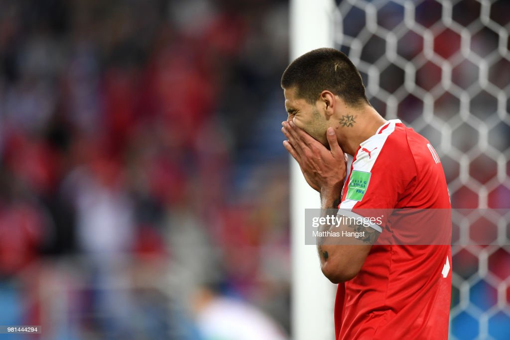 Aleksandar Mitrovic of Serbia reacts during the 2018 FIFA World Cup Russia group E match between Serbia and Switzerland at Kaliningrad Stadium on June 22, 2018 in Kaliningrad, Russia.