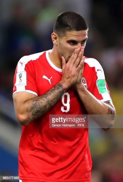 Aleksandar Mitrovic of Serbia reacts during the 2018 FIFA World Cup Russia group E match between Serbia and Brazil at Spartak Stadium on June 27,...