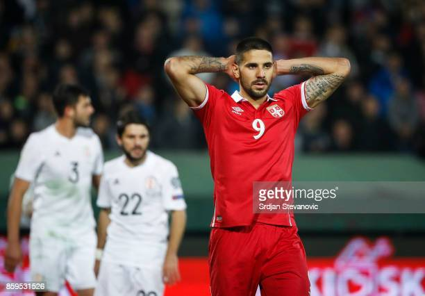 Aleksandar Mitrovic of Serbia reacts during the FIFA 2018 World Cup Qualifier between Serbia and Georgia at stadium Rajko Mitic on October 9 2017 in...