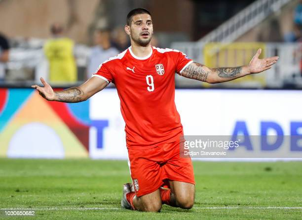 Aleksandar Mitrovic of Serbia reacts during the UEFA Nations League C group four match between Serbia and Romania at stadium Partizan on September 10...