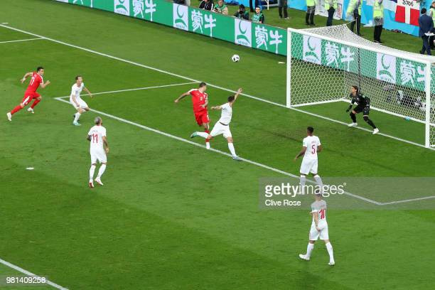 Aleksandar Mitrovic of Serbia scores his team's first goal during the 2018 FIFA World Cup Russia group E match between Serbia and Switzerland at...