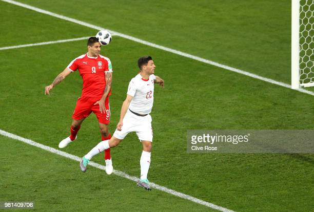 Aleksandar Mitrovic of Serbia scores his team's first goal past during the 2018 FIFA World Cup Russia group E match between Serbia and Switzerland at...