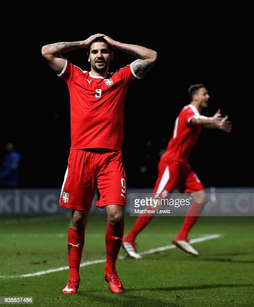Aleksandar Mitrovic of Srerbia looks on after his shot is disallowed during the International Friendly match between Nigeria and Serbia at The Hive...